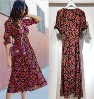 Women Dress High Quality Heavy Silk Printed Short sleeved Dress Romantic V neck Dress