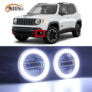 2Pcs For Jeep Renegade 2016 2017 2018 3-IN-1 Functions Auto LED Angel Eyes Daytime Running Light Car Projector Fog Lamp