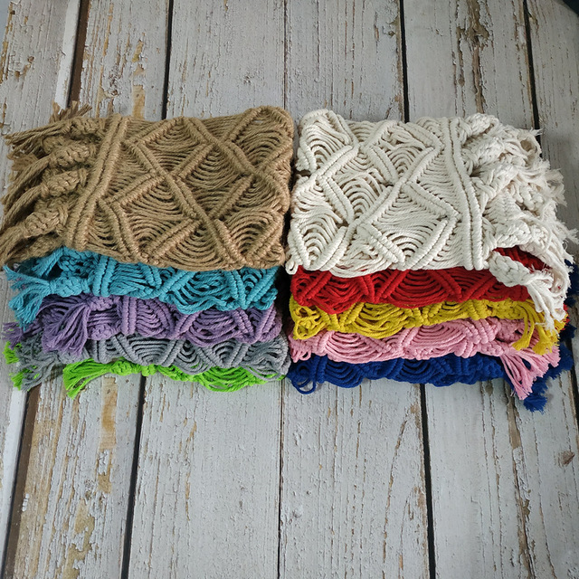 Newborn macrame blanket photography props,Baby colorful basket mat photography props