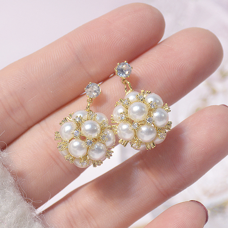 Korean Fashion 14k Real Gold Pearl Ball Earring for Women Romantic Inlaid Cubic Zircon Stud Earring Wedding Jewelry Pedant Gift