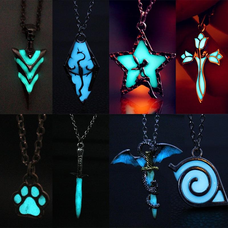 Модные светящиеся ожерелье светятся в темноте светящаяся Дракон ожерелье с подвеской на шею Перевозка груза падения