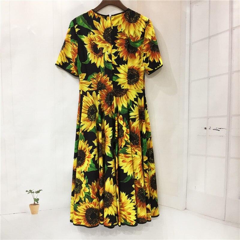 Designer de moda outono cristal lantejoulas vestido feminino manga curta em torno do pescoço girassol vintage floral impressão férias midi vestido - 2