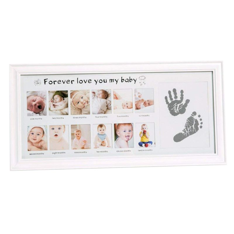 Baby Growth Hands And Feet Footprints Desktop Photo Frame Newborn 12 Months Creative Wall Hanging Wood Picture Frames