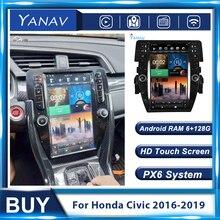 Autoradio Android pour Honda Civic 2016 – 2019, lecteur multimédia stéréo, 2 Din, écran HD Vertical, Tesla, unité principale vidéo