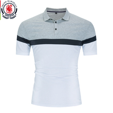 Fredd Marshall 2020 New Polo Shirt Men 100% Cotton Short Sleeve Patchwork Polos Homme Business Casual Striped Polo Shirt Top 060