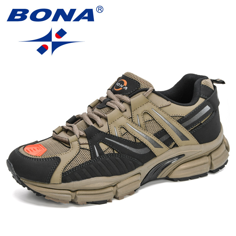 BONA 2020 New Designers Action Leather Running Shoes Men Sneakers Sport Shoes Athletic Walking Jogging Footwear Man Trainers