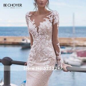 Image 4 - Robe de mariée à manches longues dentelle sirène Appliques perlée dos nu Vestido de Noiva 2020 lumière princesse BECHOYER N162 robe de mariée