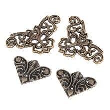 Furniture Hardware Luggage-Brackets Decorative Corners Metal Butterfly-Shape Bronze Vintage