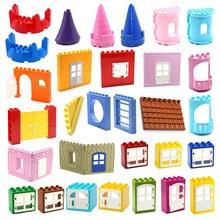 Tamanho grande blocos de construção série casa peças acessórios castelo casa telhado parede janela da porta construção brinquedos para crianças presentes