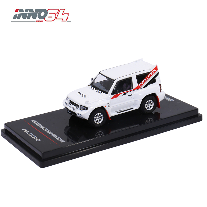 INNO64 1:64 Mitsubishi Pajero EVO White With Extra <font><b>Wheels</b></font> INNO Die-cast <font><b>Model</b></font> <font><b>Car</b></font> image