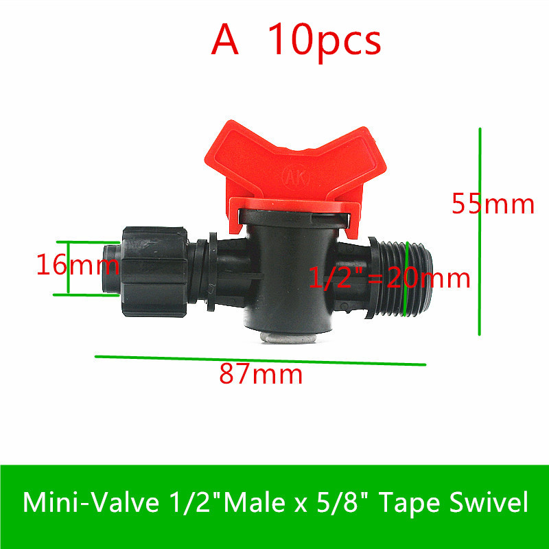 "Image 2 - 10 20PCS 5/8"" Swivel Drip Tape Connector Mini Valve Elbow Tee Starter End Plug Repair Coupler  Greenhouse Watering Drip FittingsGarden Water Connectors   -"