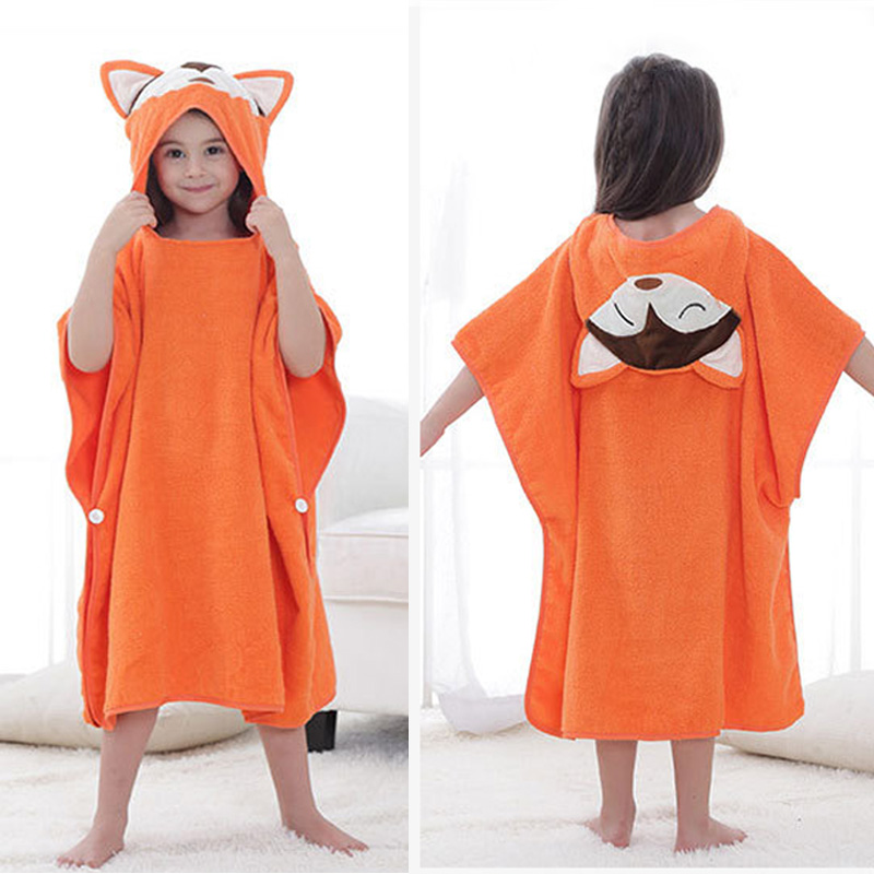 2019 Autumn Baby Boys Girls Hooded Christmas Poncho Kids Bath Towel Cartoon Animal Swimming Bathrobe Cotton Children Beach Towel