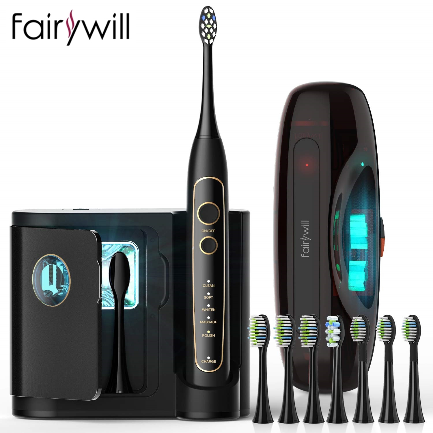 Fairywill high-tec Electric Toothbrush Travel case 5-Mode Ultra-Sonic Toothbrush pro FW-2056 Smart timer Wireless charging base