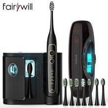 Fairywill – étui de voyage pour brosse à dents électrique, 5 modes, Ultra-sonique pro, minuterie intelligente, base de chargement sans fil