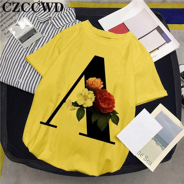 2020 New Summer Women Tank Tops Shirt 26 Letters Harajuku Print Yellow Casual O Neck Short Sleeve Blouses Shirts Tee Shirt Femme
