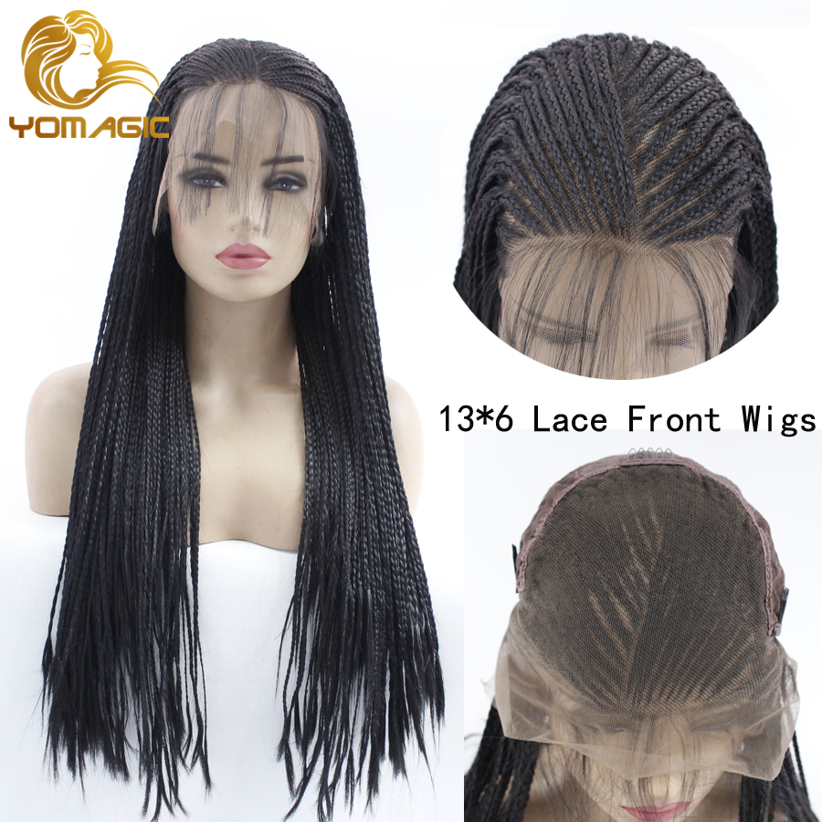 Yomagic Long Micro Braided Synthetic Lace Front Wigs For Women Tied Box Braided Lace Front Wig Heat Resistant