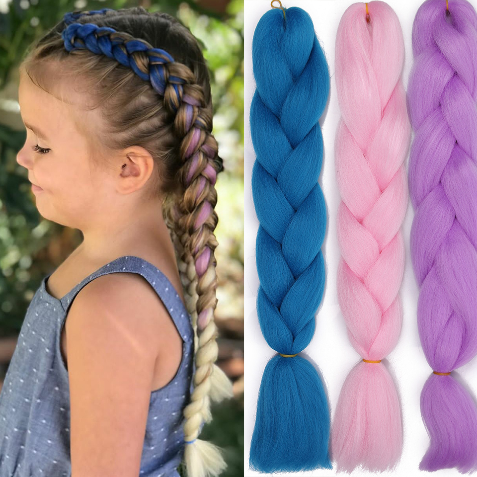 Ombre Pure Mix Color Hair Extensions Crochet Jumbo Braids  For Girls Hair Braidings  Synthetic Braiding  Kanikalon Hair Crotchet