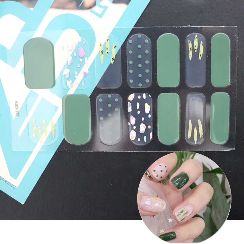 14 tips/vel Nail Stickers Set Volledige Cover Gel Nail Strip Bloem Kerst Holografische met Diamant Effect Nail Wraps decoratie