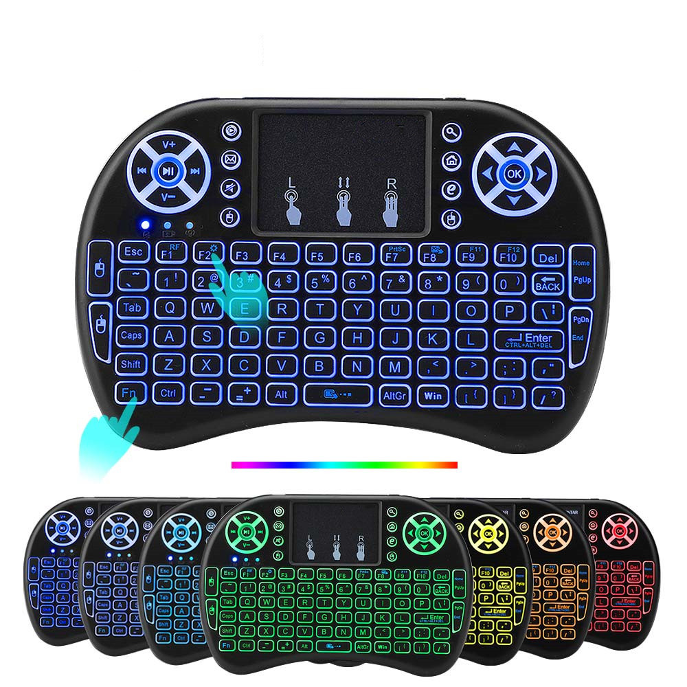 Ziicoyo I8 Keyboard Backlit Spanish Version Air Mouse 2.4GHz Wireless Keyboard Touchpad Handheld For Android TV BOX X96 GTC G1