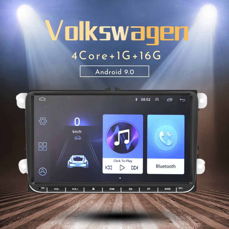 "MFWNITBL 2 Din Car Radio Multimedia Video Player Navigation GPS Android 9.0 2din Auto Stereo 9"" Audio or Volkswagen"