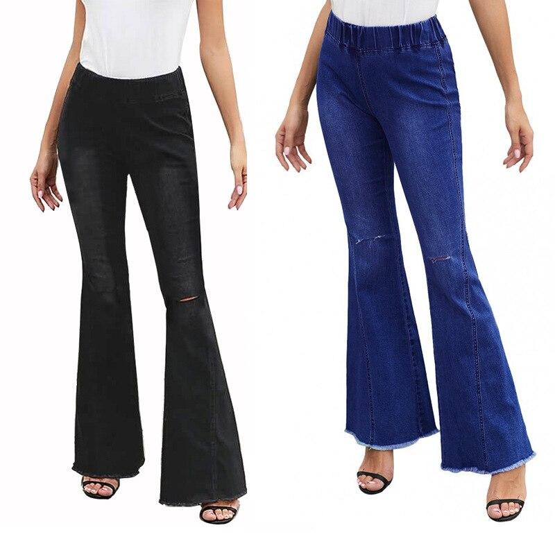 Women Ladies Denim Jeans High Waist Flare Wide Leg Trousers Bell Bottom Pants US
