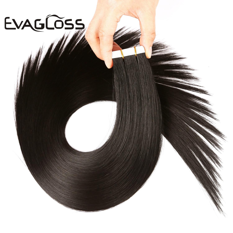EVAGLOSS Skin Trame Real Remy Tape Dans Extension De Cheveux Humains 10pcs 20pcs 40pcs Ruban Adhésif Dans Extensions De Cheveux