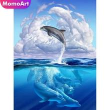 MomoArt Diamond Embroidery Animal Dolphin Full Drill Painting Square/round Stones Mosaic Sea Home Decor