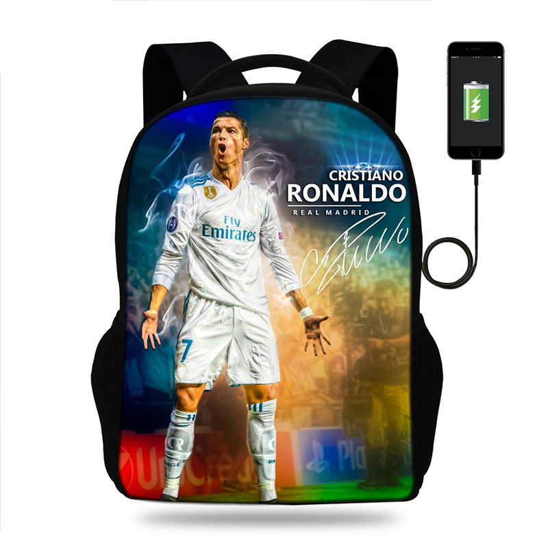 17inch Cristiano Ronaldo Laptop Backpack USB Charge Mens Football Backpack For Teenagers Boys  School Bag Mochila Travel Bag