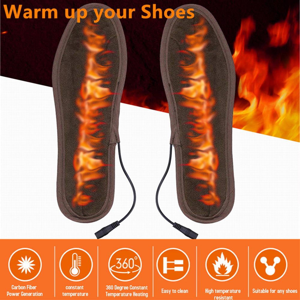 USB Thermal Insoles Winter Unisex Soft Plush Warm Orthopedic Insoles For Feet Deodorant Electrical Heated Insoles For Shoes D30