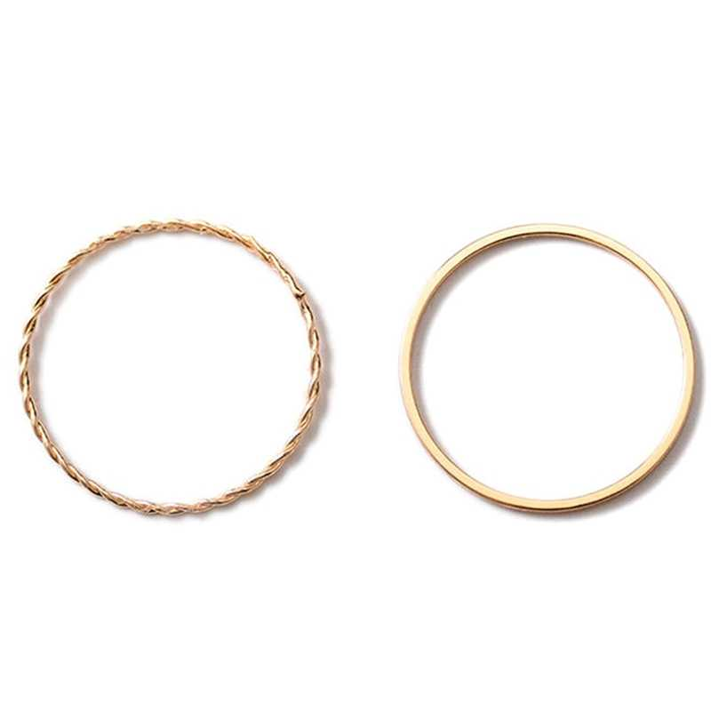 2 יח'\סט מתכת מצופה טוויסט גיאומטריה טבעת חדש חמוד גיאומטריה חתונה לנשים תכשיטי עגול פשוט אופנה מפלגה מתנות