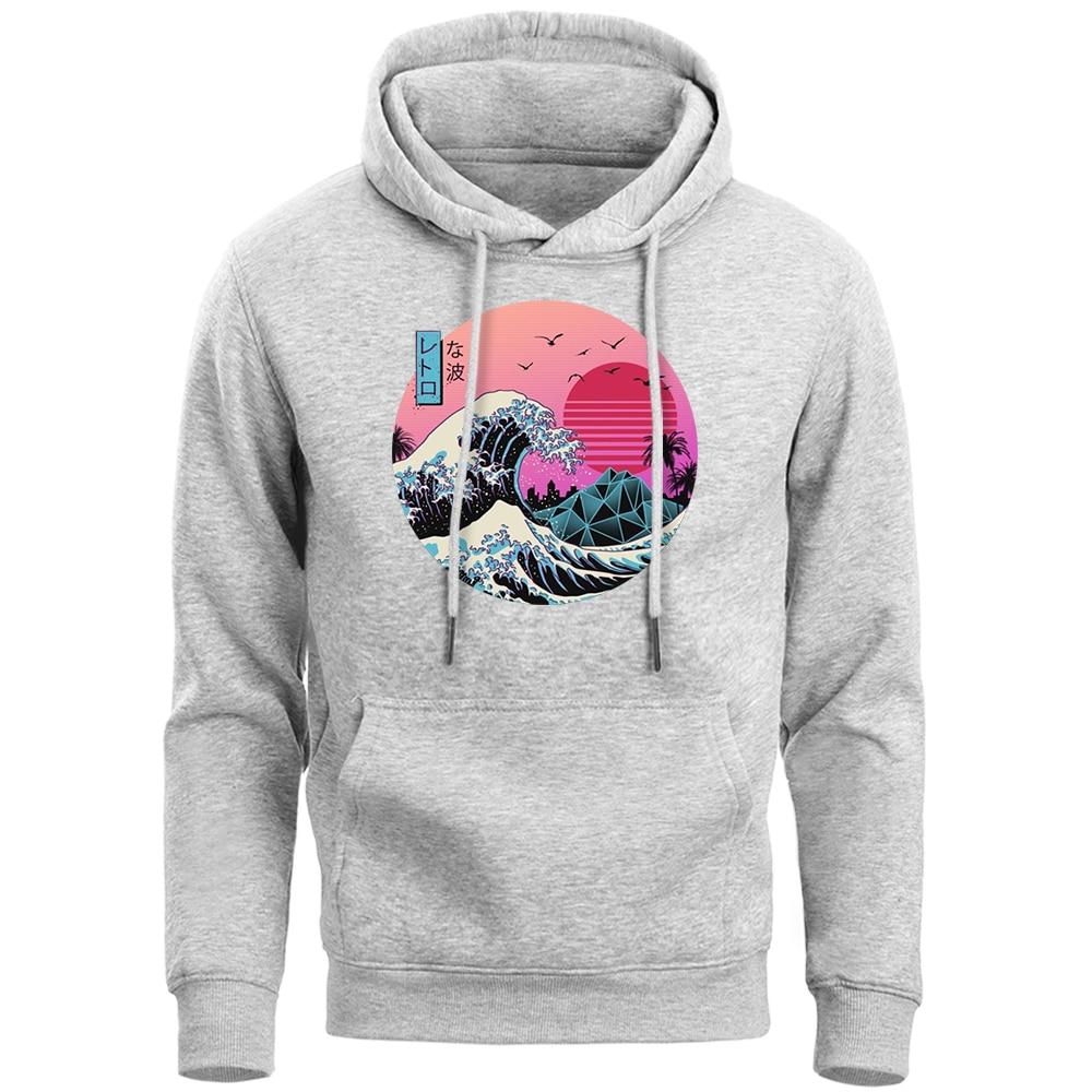 Vaporwave Hoodies Men The Great Retro Wave Japan Anime Aesthetic  Sweatshirt Men'S Softwear Hoody 2019 Winter Fleece Pollover