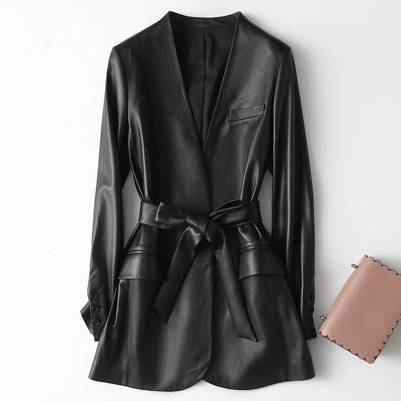 Nerazzurri Black Faux Leather Jackets For Women Deep V-neck Belt Autumn Spring Pu Leather Jacket Women 2020 Soft Leather Coat