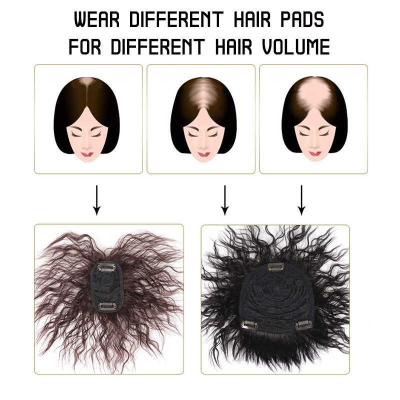 AILIADE Rambut Manusia Topper Wig dengan Poni Meningkatkan Jumlah Rambut Di Bagian Atas Kepala untuk Menutupi putih Rambut Palsu