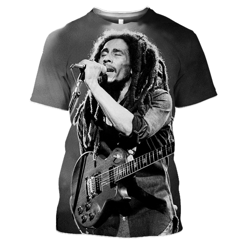 Bob Marley Rock Hip Hop T Shirt Men Male Summer Plus Size Streetwear Casual Short Sleeve Round Neck Weeds Reggae Star T-Shirt (11)