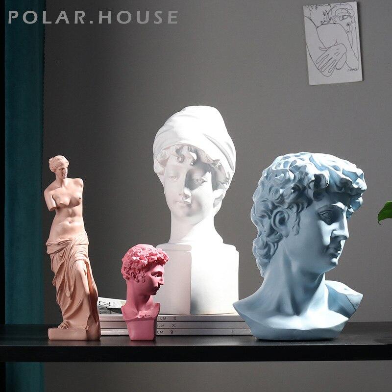 European Classical David Bust Sculpture Sketch Character Portrait Living Room Figurines Venus Plaster Statue Portrait Decoration