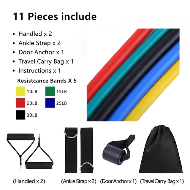 17Pcs/Set Latex Resistance Bands Gym Door Anchor Ankle Straps Resist band Kit Yoga Exercise Band Fitness Expander Loop Tube Pull 2