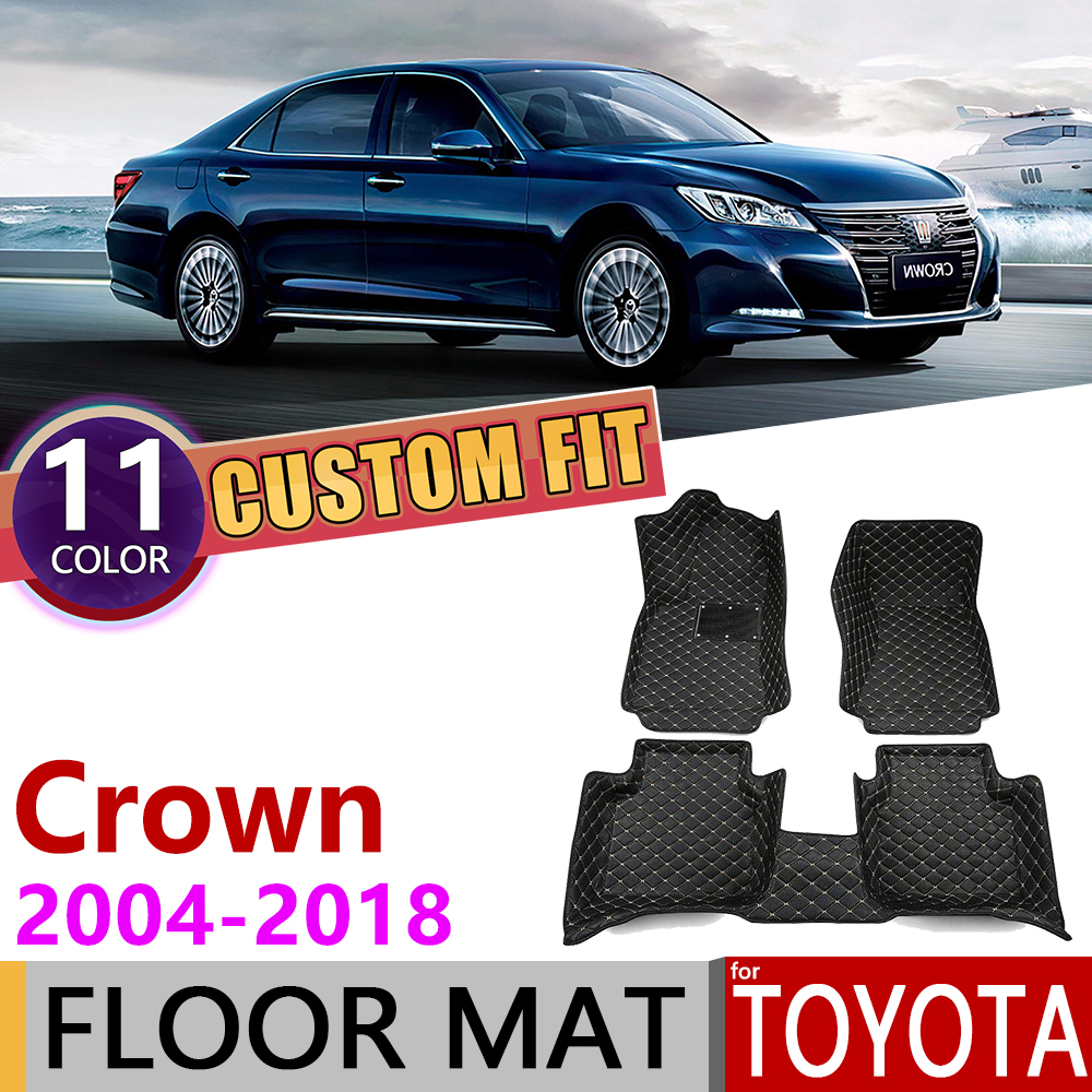 Custom Leather Car Floor Mats For Toyota Crown S180 S200 S210 2004~2018 S 180 200 210 5Seats Foot Pad Carpet Accessories 2005