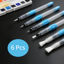 6Pcs/Set Water Color Paint Brush Set Point/Flat Tip Large Capacity Soft Painting For Art Supplies
