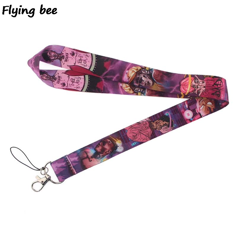 20pcs/lot Lil Peep Keychain Puunk Hiphop Phone Lanyard Women Strap Neck Lanyards For ID Card Keys Rapper Gifts X0361