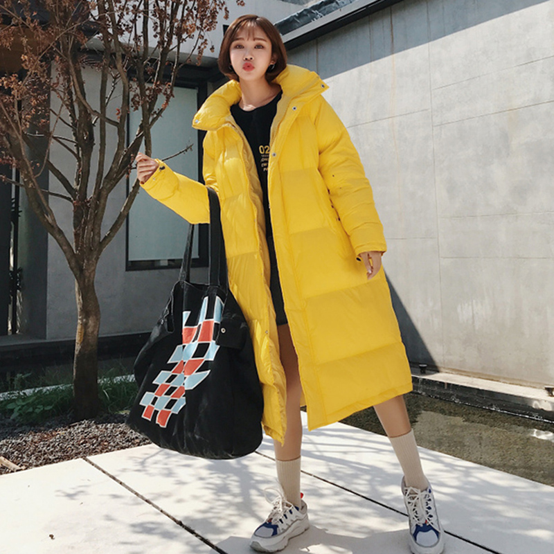 woman winter coats 2020 Long Parkas Female Couple black/yellow/Purple Warm Thicken Down cotton Jacket Parker hooded Coat MY222