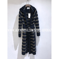 elegant retro women's knitted long cardigan knitted sweater autumn winter jacket high quality Black gold braided long jacket