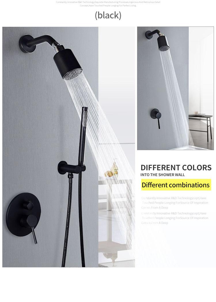 H2885de3397974125b65b7fead38d399aD Wall Mounted Bathroom Top Sprayer Brushed Gold Shower Faucet Set