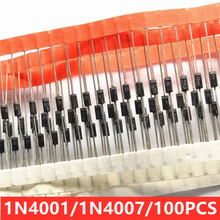 100pcs/lot IN4001 New straight plug rectifier diode 1N4007 DO41 IN4007 1A1000V MIC  1N4001