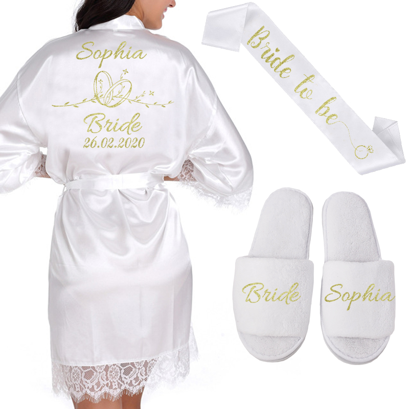 Personalized Date Name Lace Kimono Robe Women Wedding Bride Bridesmaid Robes Bachelorette Wedding Preparewear