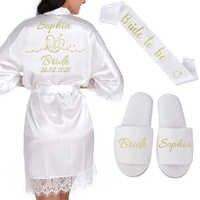 Personalized Date Name Lace Kimono Robe Women Wedding Bride Bridesmaid Robes Bachelorette Wedding Preparewear