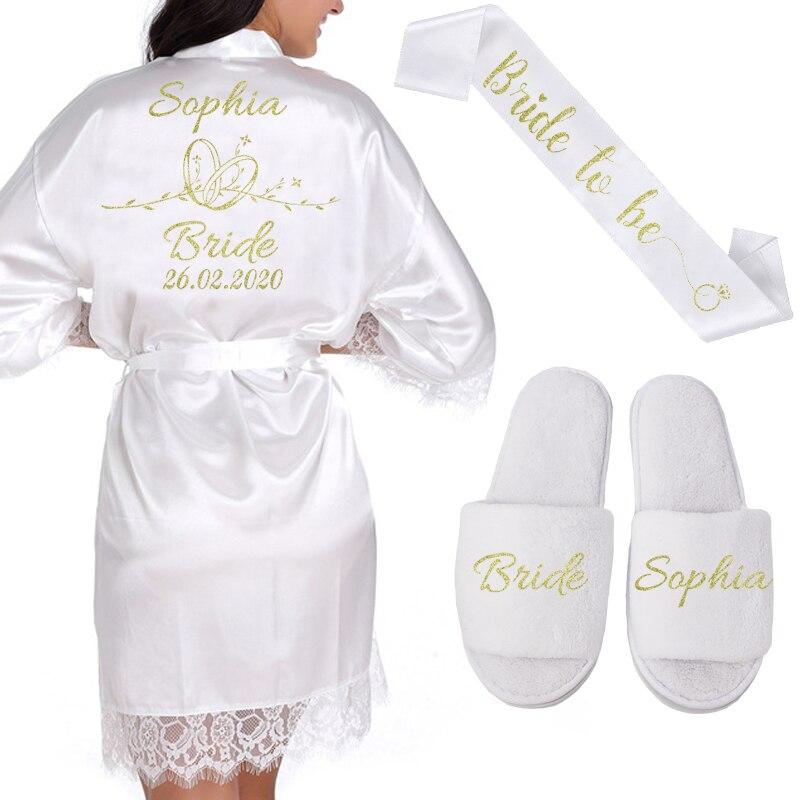 Personnalisé Date nom dentelle Kimono Robe femmes mariage mariée Robes de demoiselle d'honneur Bachelorette mariage préparation