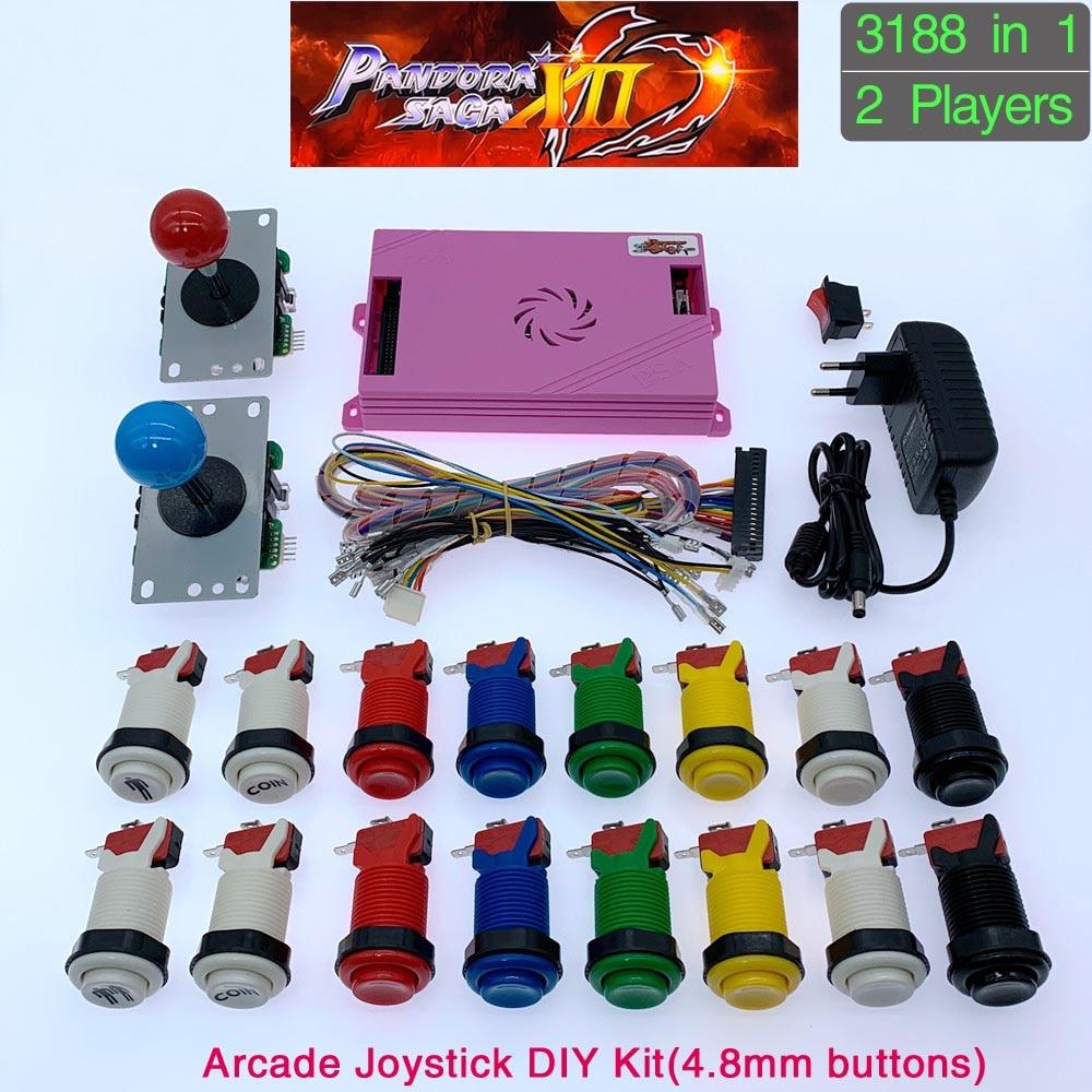 3188 in 1 Pandora Saga Box 12 DIY Arcade Kit game board 8 way joystick & American Style Push Button for 2 Playes Arcade Machine(China)