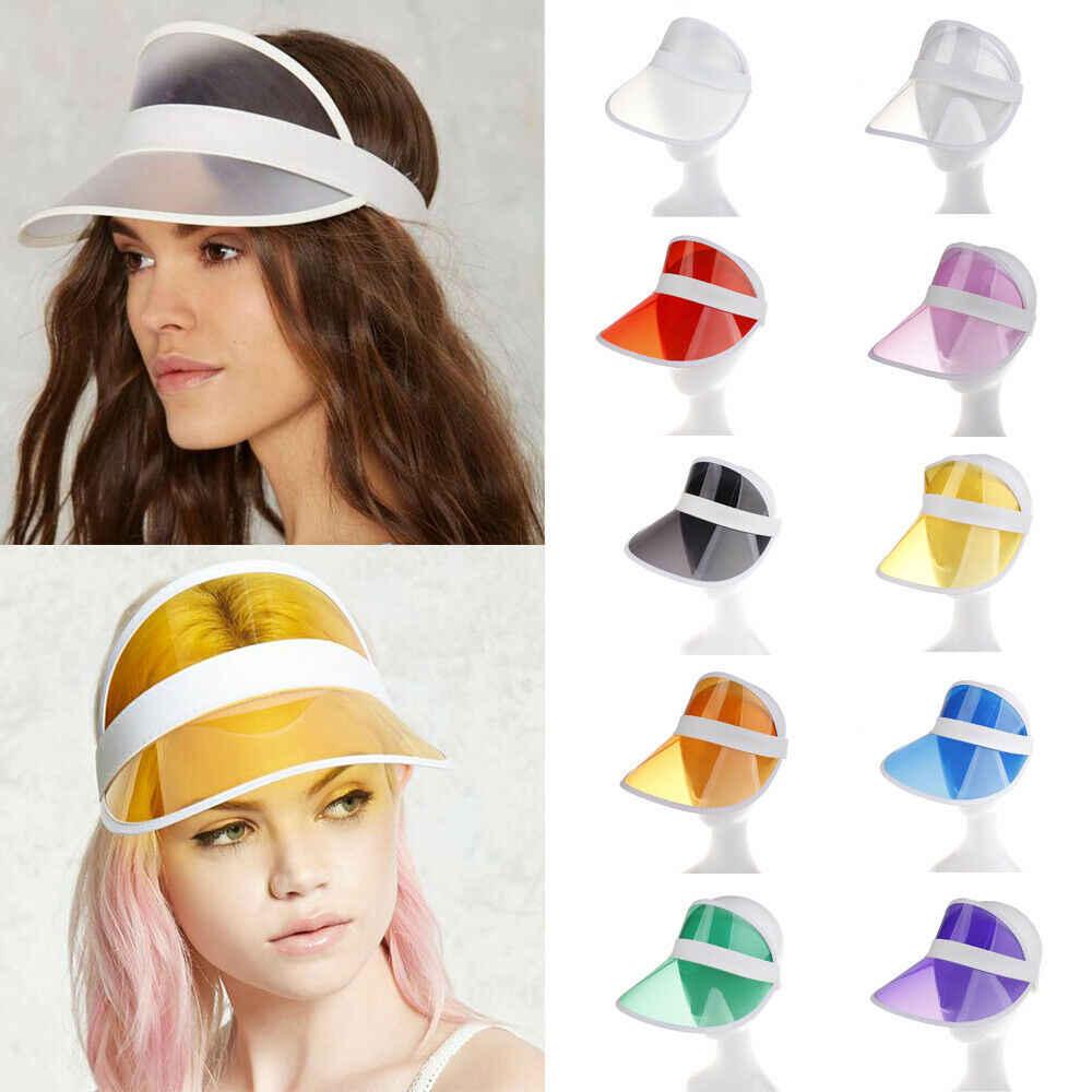حار الصيف PVC قبعة الصلبة الشمس قناع حزب عارضة قبعة واضح البلاستيك الكبار النساء أزياء السيدات واقية من الشمس كاب