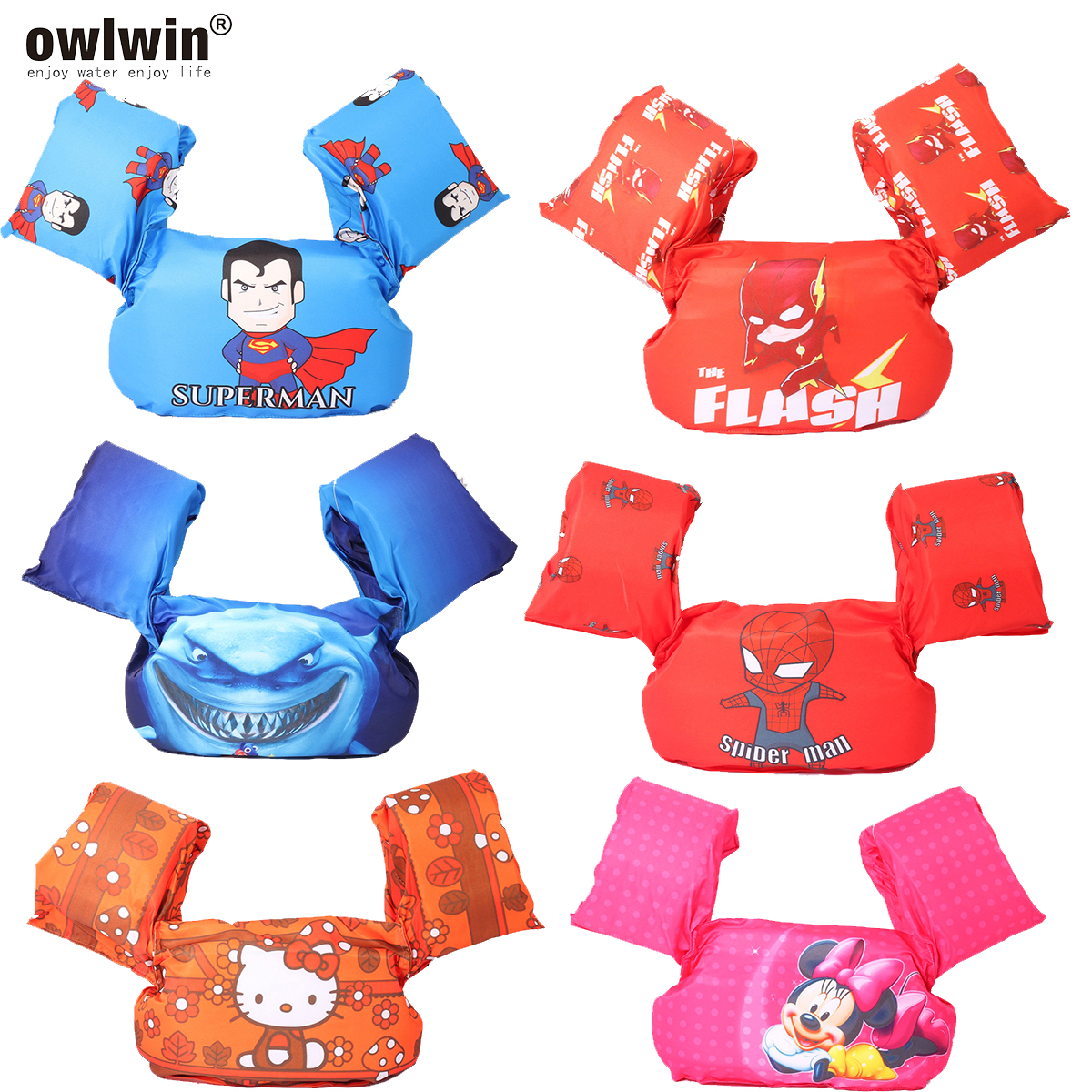 Owlwin Puddle Jumper Baby Life Vest Life Jacket Baby Swimsuit Swimwear 14-25KG Baby Kids Arm Ring Floats Foam Safety Swim Rings