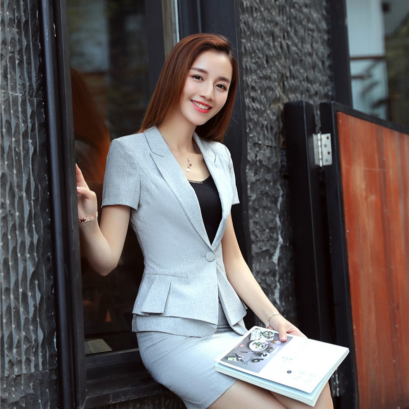 Summer Ladies Blazers Women Jackets Short Sleeve Clothes Female Elegant Formal Office Work Wear OL Uniform Designs Blazer Casual